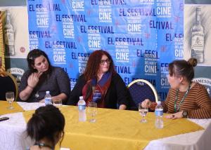Encuentro de mujeres cineastas cubanas. Katherine T. Gavilán, Marilyn Solaya y Rosa María Pupo.