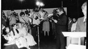 Gabriel García Márquez en la clausura del Primer Festival