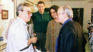 Eusebio Leal, Iván Giroud, Enrique Álvarez y Alfredo Guevara