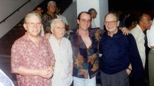 Julio García Espinosa, Santiago Álvarez, Silvio Rodríguez y Alfredo Guevara